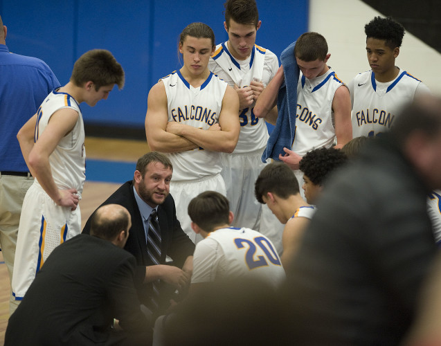 First-year Central head coach Jeff Whittle talks to his team during a timeout against George Mason on Dec. 15. Central hosts Strasburg on Thursday. Whittle is a Strasburg graduate. Rich Cooley/Daily file