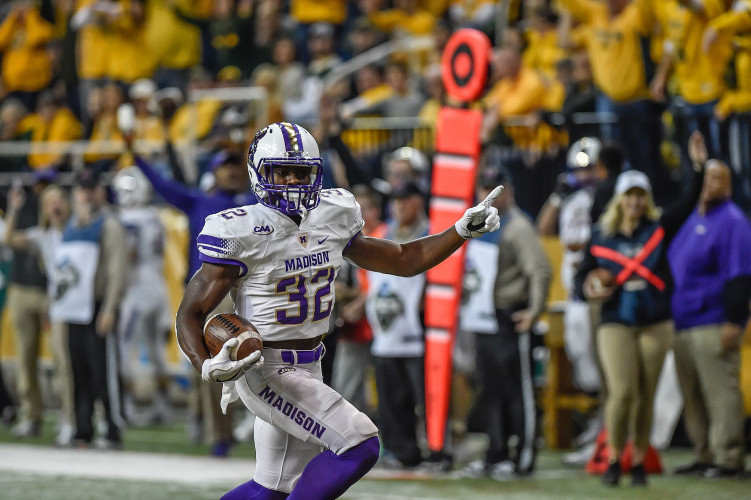 JMU's Khalid Abdullah reacts as he scores a touchdown against North Dakota State in the FCS semifinals on Dec. 16. Abdullah leads the Dukes in rushing with 1,708 yards. Courtesy photo/JMU Athletics Communications