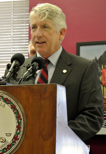 Virginia Attorney General Mark Herring discusses a grant that will go toward eliminating the state's backlog of untested rape kits during a news conference on Thursday.  Capital News Service photo