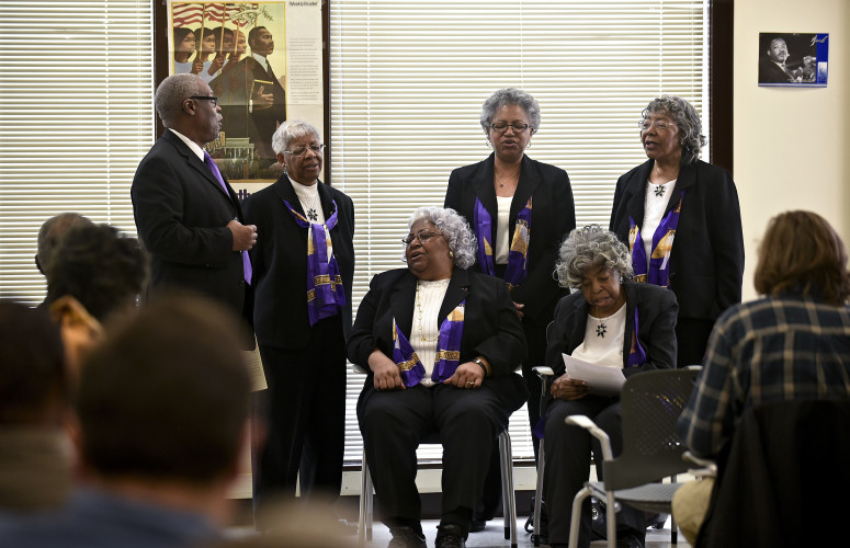 Members of the Peterson family, of Gainesville, sing during their guest appearance at the Warren-Page branch of the  NAACP's marking the Martin Luther King Jr. Celebration held at the Warren County Community Center in Front Royal on Monday afternoon.   Rich Cooley/Daily