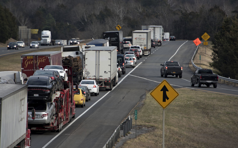 Traffic backs up along Interstate 81 at the 298 exit at Strasburg while crews make emergency bridge repairs at the 299 mile marker Tuesday afternoon. Rich Cooley/Daily