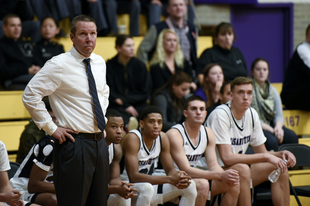 Massanutten Military Academy postgraduate boys basketball coach Chad Myers looks on during the second half of the Colonels' game against Fork Union on Jan. 24. Rich Cooley/Daily