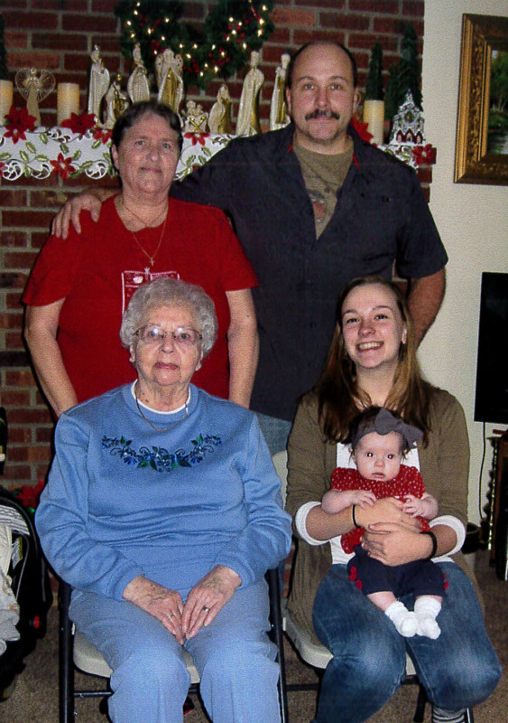 Five generations of Gladys Rhinehart's family gathered on Christmas Eve at the Edinburg home of Larry and Linda Ryman. Shown are, seated, from left, Gladys Rhinehart, Kelsey Paige Ryman, holding Charlie Michele Barrett; standing, Linda Rhinehart Ryman and  Jason Ryman. Courtesy photo