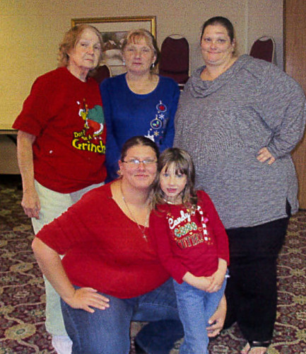The Elsie Palmer family poses for a five-generation photo  during a Christmas family gathering at the Travelodge in Winchester. About 40 people attended. Shown here are, front row, from left,  Victoria Robinson and Brooke Robinson, both of Winchester; back row, Elsie Palmer, of Middletown, Mary Kerns, of Inwood, West Virginia, and Teresa Embrey, of Martinsburg, West Virginia. Courtesy photo