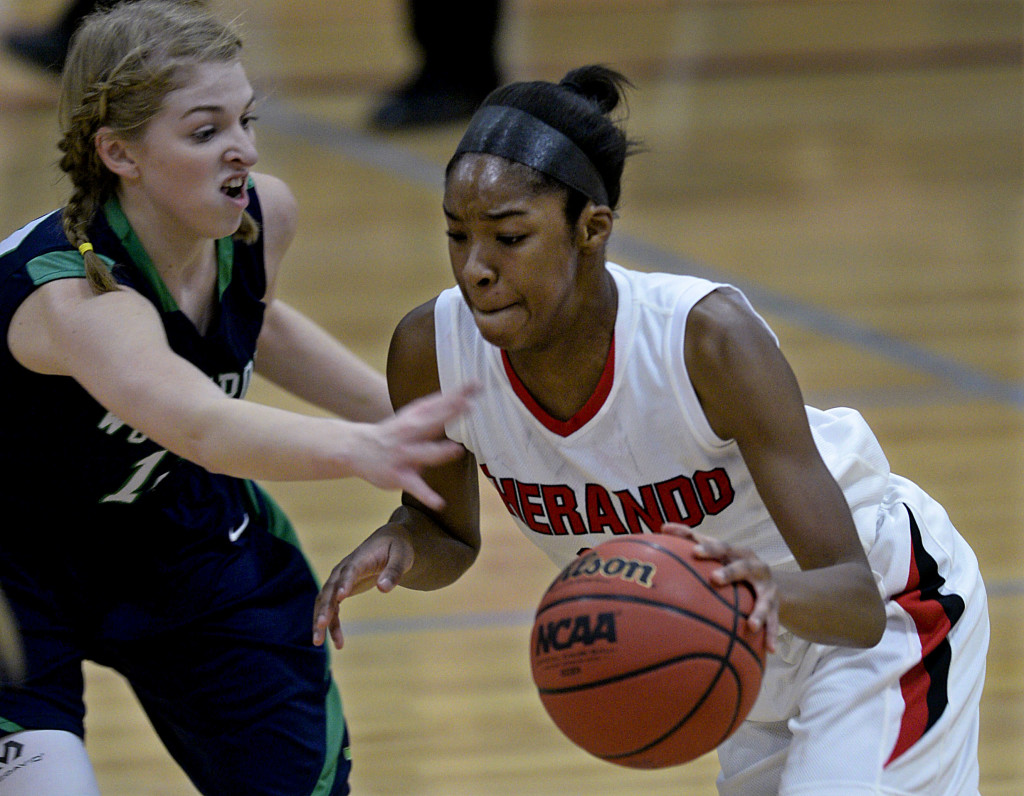 Sherando's Davina Lane drives to the basket against Woodgrove on Feb. 13.  Lane led the area this season, averaging 16.9 points per game. Rich Cooley/Daily