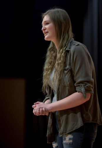 Amber Ross, 18, of Linden, a senior at Warren County High School, will compete in a national Shakespeare competition in May in New York City.   Rich Cooley/Daily