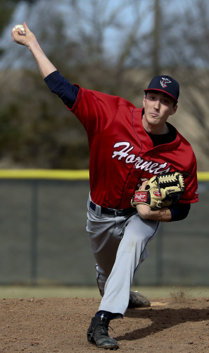 Shenandoah University's Colin Morse throws a pitch during the Hornets' season opener against Misericordia last Saturday at Bridgeforth Field. Morse, a junior, will lead SU's starting rotation this season.   Photo courtesy of Shenandoah University