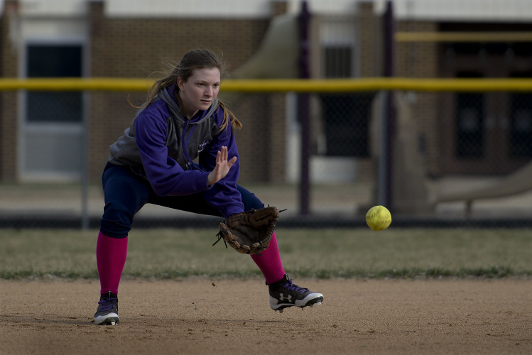 Strasburg's Cortney McDonald fields a ground ball during a recent practice. McDonald will help lead the Lady Rams in softball in their upcoming season.   Rich Cooley/Daily