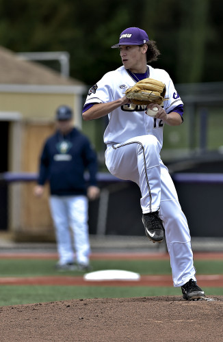 James Madison University's Colton Harlow throws a pitch during the 2016 season. The former Stonewall Jackson High School standout has helped lead the Dukes to a strong start this season. Courtesy photo/JMU Athletics Communications