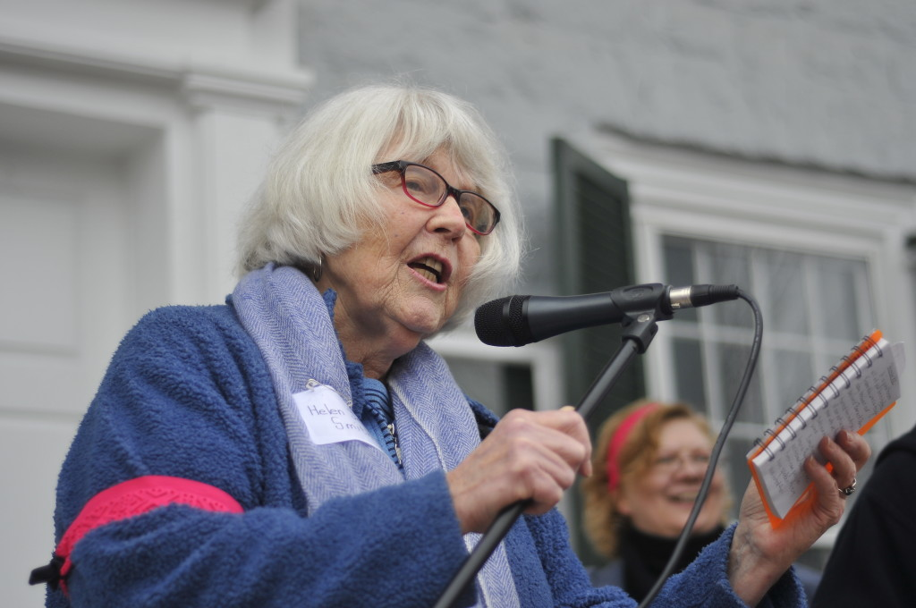 Helen Jean Smith, organizer of an upcoming  town hall event, speaks at the Women's March in Woodstock on the day after President Donald Trump's inauguration. Jake Zuckerman/Daily