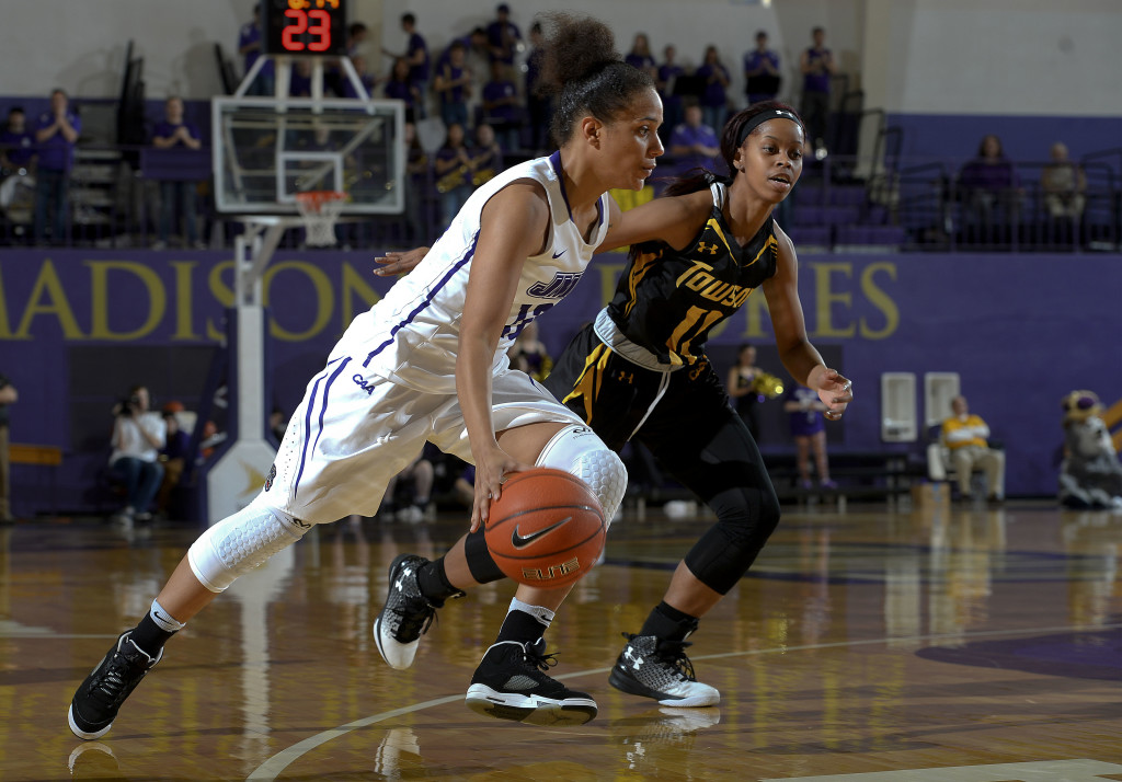 JMU's Precious Hall drives to the basket in their game against Towson earlier this year. The CAA women's basketball tournament at JMU starts today. Photo courtesy JMU Athletics Communications Photography.