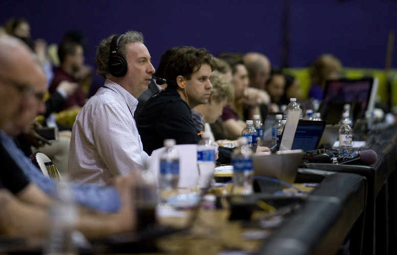 Craig Orndorff, of Edinburg, sits along press row during the Colonial Athletic Association Conference Tournament  quarterfinals at James Madison University on Mar. 9. Orndorff  took over as the voice of JMU's women's basketball, giving play-by-play announcing on the JMU/Sprint Broadcast Network. Rich Cooley/Daily
