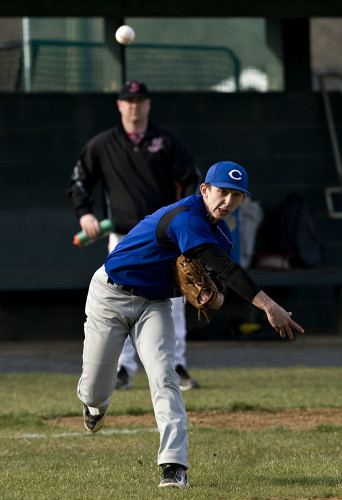 Central's Jared Rice throws out Stonewall's Brett Jones on an infield ground ball during the second inning of a doubleheader Friday evening at Rebel Park in New Market. Rich Cooley/Daily