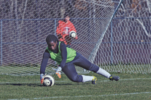 Photo by Scott Kindberg Dunkirk's Emily Berakah makes a save during the Chautauqua County Senior Soccer Game, on Sunday the Martin Road Athletic Complex in Jamestown.