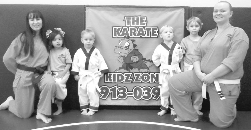 Submitted Photo The Karate Kidz Zone recently held belt stripe promotions for 2-5 year olds. In order to receive a stripe, The Karate Kidz Zone students must perform basic karate stances, that they have learned.  With each stripe, they move up to learning more advanced skills. Pictured from left are Miss Julie Lynn, Yalitzka Collazo, Jaxson Jaquith, Max Harrington, Joshua Gay and Miss Amanda.