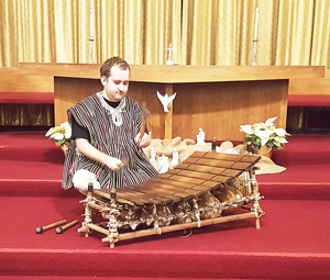 Submitted Photo First United Presbyterian Church of Dunkirk began its Marsh Memorial Advent Recital series this past Wednesday. Pictured above is Matthew Aubeuf performing on the gyil, a pentatonic mallet instrument found in the Upper West of Ghana and neighboring Ivory Coast and Burkina Faso. These instruments are used for many ceremonial purposes. Three of the most important genres of gyil music are recreational, religious and funeral music. Selections from each genre of music were performed.