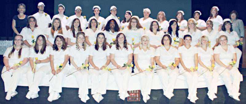 Submitted Photo The 33 graduates of the 2016 School of Practical Nursing of the Erie 2-Chautauqua-Cattaraugus BOCES celebrated commencement recently in the Scharmann Theatre at Jamestown Community College. Back row standing: Instructor Amanda Merchant, David Price, Ryker Maddox, Angel Echevarria, Amy Nowell, Royal Attard, Megan Attard, Meagan Livermore, Mary O'Donnell, Celina Eggleston, Rachael Rugg, Brigetta Borkwoski and instructor Michelle Johnson-Anderson. Middle row: Amber Conklin, Alana Stafford, Shannon Patrizi, Dawn Johnson, Melissa Brown, Jessica Banes, Christina DeLong, Jolean Scott, Amber Lucas, Angela Ortiz, and Lacy Cabisca. Front row: Meagan Jude, Nicole Oste, Mara May Batson, Mary Jane Mizner, Chelsey Johnson, Danielle Parker, Amber Caylor, Tyrina Wheaton, Breanna Crouse, Ashley LaPlante, and Elizabeth Heston.