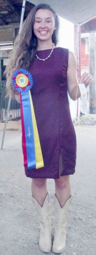 Submitted Photo November 4-H SuperYouth Melinda Waag modeling her winning Make it with Wool entry at the 2016 Chautauqua County Fair.