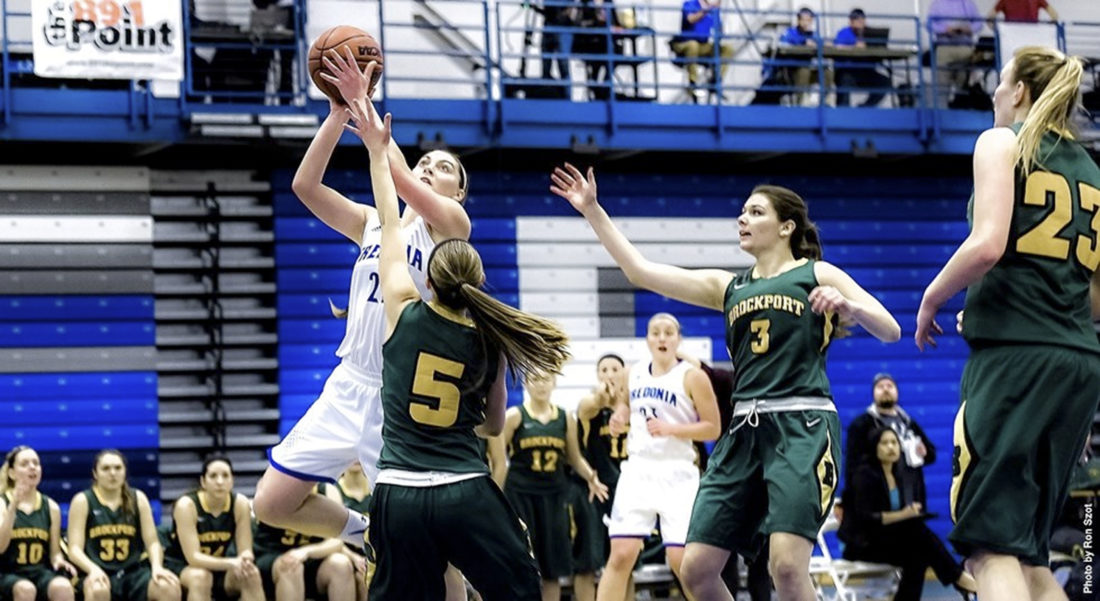 File Photo Fredonia's Sabrina Macaulay goes up for a pair of her career-high 33 points against Brockport on Tuesday, Feb. 23. The 33 points helped her join the 1,000 Point Club.