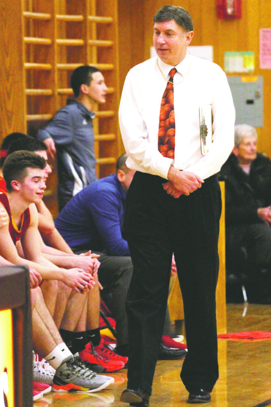 OBSERVER Photo by Lisa Monacelli Olean coach Jeff Anastasia picked up his 545th career victory Tuesday with a 70-44 win over Fredonia. The 545 wins sets the record for all time wins by a Western New York coach.