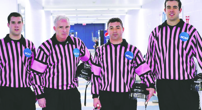 """Photo Courtesy of SUNYFredonia Referee jerseys like these will be auctioned Saturday during the annual """"Pink The Rink"""" hockey game at Steele Hall. The game is set for 7 p.m."""
