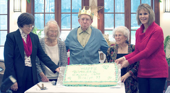 Submitted Photo. Three residents of St. Columban's on the Lake celebrate their 100th birthdays with state Sen. Cathy Young. Pictured, from left: Home Administrator Sr. Corona Colleary, residents Vera Bell, Howard Bonhoff and Evelyn Martin and Sen. Young.