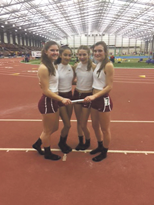 Submitted Photo The Dunkirk High Schools' girls 4x400 relay team, who also compete under the name Dunkirk Time Machine Track Club, qualified for the New Balance Nationals  on Sunday with a blistering time of 3:58.51 at the Spire Scholastic Showcase in Geneva, Ohio. The New Balance meet will be held March 10-12 in New York City, and is the premiere high school National indoor meet in the country. Their time unofficially shattered the existing Section VI girls 4x400 record of 4:04.11 by more than six seconds, but it cannot count because they were not representing Dunkirk High School and the Spire meet was not officially sanctioned by the NYSPHAA state governing body. Their 3:58.51 performance however ranks them as fourth in New York State on the Mile Split/NY statewide ranking web site. Pictured from left are Emilee Hanlon, Jericha Petrella, Jaylah Cossins and Emma Seiders. Cossins and Seiders attend Silver Creek Central School.