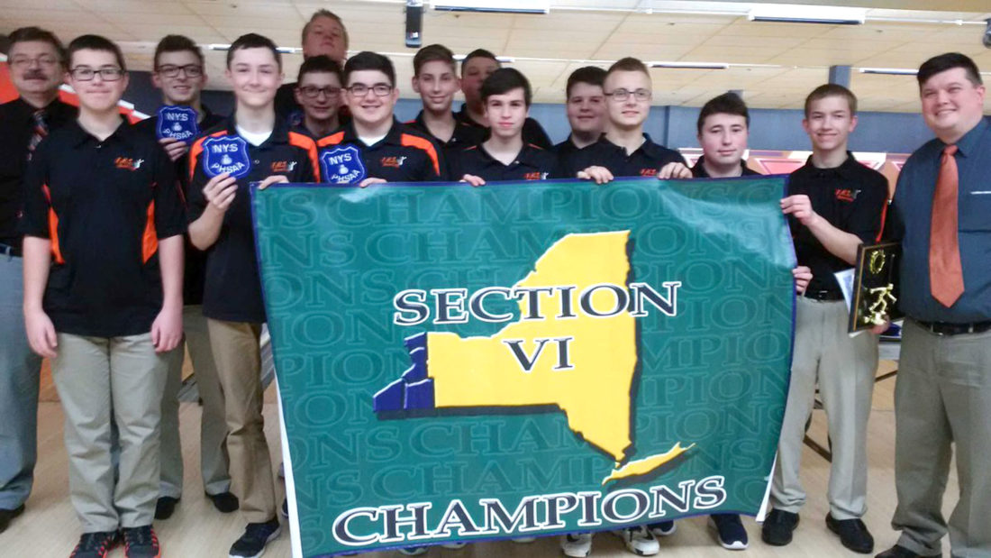 Submitted Photo The Fredonia Hillbillies captured their first ever Section VI Class C championship Thursday at Airport Lanes. Pictured are members of the team. They are, in front from left, Jacob Patterson, Travis Langworthy, Andrew Conti, Trace Mackenzie, Michael Dispense, Jacob Marsh, Michael Mackowiak and Coach Tom Battaglia. In the middle row are Coach Roger Pacos, Bryson Pacos, Josh Ellman, Jarrett Maslak and Chandler Orr. In back are Cody Decker and Ricky Burgstrom.