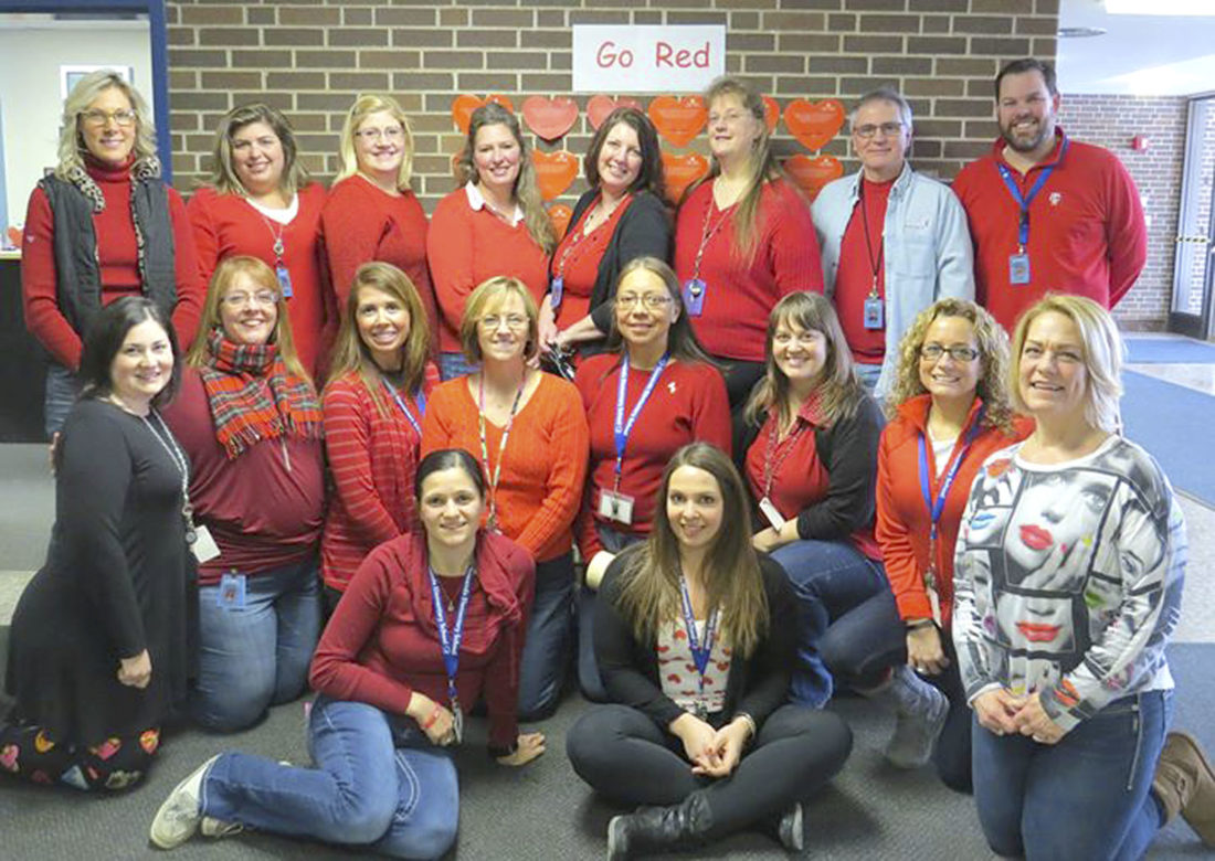 Submitted Photo The Gowanda Elementary School staff joined together to raise $272 as they sported red clothes and jeans earlier this month.