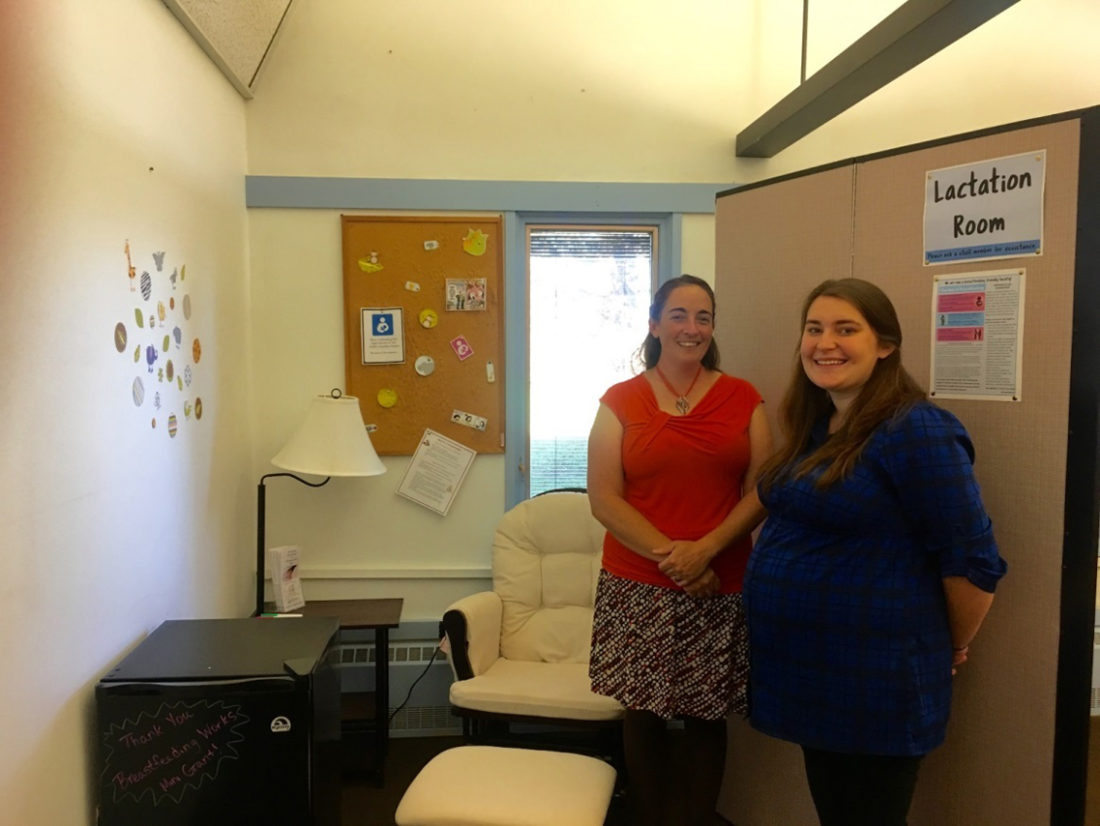 Cornell Cooperative Extension's Lactation Room. Pictured are, from left: Emily Reynolds, executive director, and Katelyn Walley-Stoll, Farm Business Management educator.