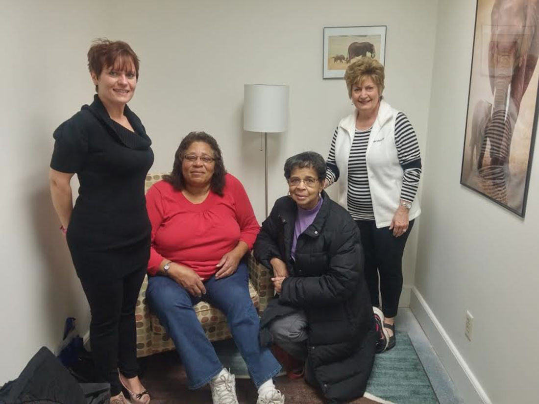 Venture Forthe's Nursing Mothers' Room. Pictured are, from left: Melanie Booth, director of Outreach for Venture Forthe; and Joyce Bess, Glenda Garland and Angie Peck of Baby Cafe Jamestown.