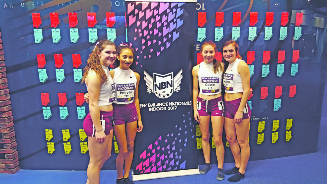 Submitted Photo Pictured from left to right are Dunkirk-Silver Creek indoor track and field teammates Emilee Hanlon, Jericha Petrella, Jaylah Cossin and Emma Seiders. The quartet competed at the New Balance Indoor National Meet in New York at the New Balance Track and Field Center at The Armory.