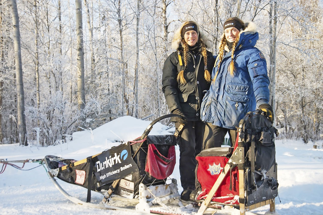 Submitted Photos Pictured are Kristy and Anna Berington of Seeing Double Sled Dog Racing, which is being sponsored by Dunkirk Boilers. They came in 40th and 41st place after more than 10 days in the 1,000-mile race from Fairfax to Nome, Alaska.