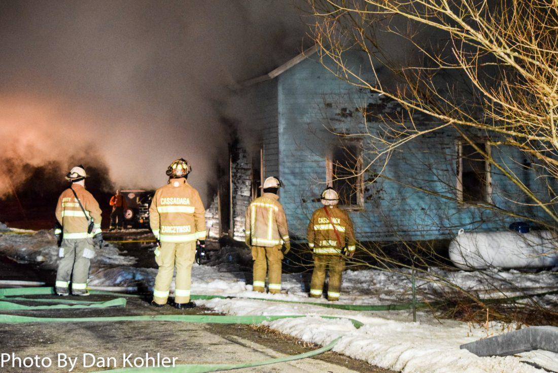 OBSERVER Photo by Dan Kohler Crews responded to 5485 Stockton Cassadaga Road early Monday morning.