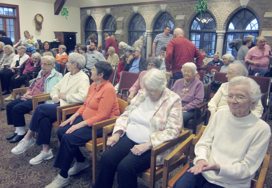The Chadwick Bay Academy of Dance Irish dancers under the direction of Irish dance teacher Jessie McKenna presented a program of Irish Dancing for these residents at St. Columban's on the Lake Retirement Home in Silver Creek.