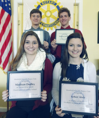 "Submitted Photo  At its March 21 meeting, the Rotary Club of Westfield-Mayville recognized (front, seated, left to right) Madison Dudley of Chautauqua Lake Central School, Sydnee Abele of Westfield Academy and Central School, (back, standing, left to right) Kasen Jewell of Brocton Central School and Thomas Johnston, also of Brocton Central School as ""Scholars of the Month."""