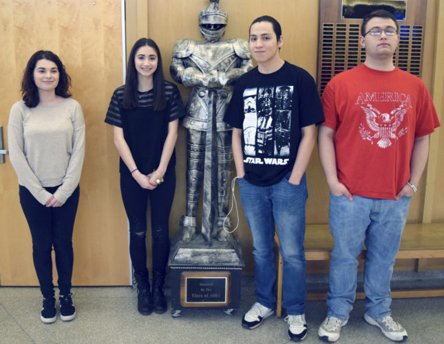 Submitted Photo From left: Sophomore Makenzie Pagano, Junior Grace Restivo, senior Graham Logan and freshman Justin Mays let their Black Knight Pride shine after being selected as Knights of the Month for March 2017. SCCS employee Joe Mullen, not pictured, was selected as staff member of the month.