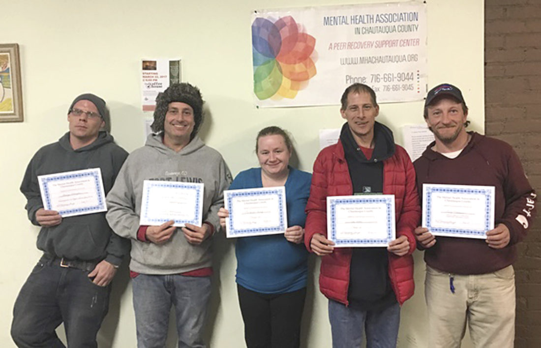 Submitted Photo Twenty-eight people were recognized for their recovery achievements at the Mental Health Association in Chautauqua County's March Recovery Luncheon. Among those who received certificates were (pictured from left) George Edington, Christopher Maini, Michelle King, Timothy Ellis, and Jonathan Schwab.