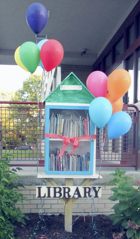 Submitted Photo: Little Free Library Project: Dunkirk elementary students painted a Little Free Library and stocked it with books in English and Spanish.