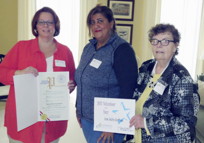 Submitted Photo Pictured are Julie LaGrow, director of the LVCC; Ana Julia Carrion, 2017 Volunteer of the Year; and Martha Wiser, LVCCpresident.