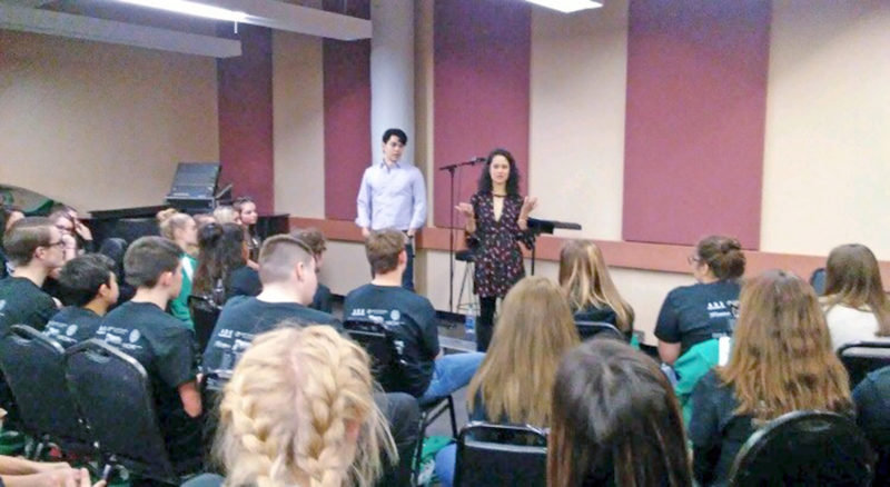 """Submitted Photo Ali Ewoldt and Rodney Ingram, the Broadway stars who play Christine Daae and Raoul from """"Phantom of the Opera"""" leading Lake Shore students."""