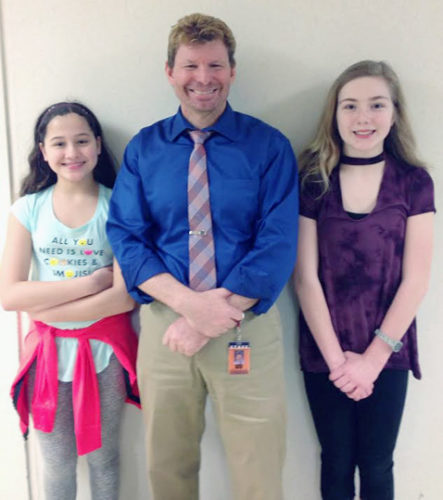 Submitted Photo  Pictured are the Fredonia Middle School winners in the Climate Education Initiative. From left are Maria Maytum, Principal Andrew Ludwig and Emerson Bramer.