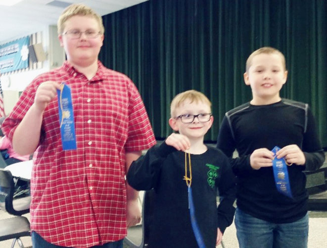 Submitted Photo From left: Collin Gregory, Dayne Jantzi and Trent Ivett placed first in the Novice Team Division of the Western District 4-H Dairy Bowl Contest.