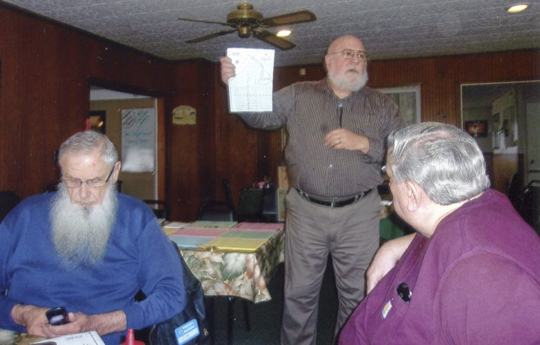 Submitted Photo The Chautauqua County Chapter of the Sons of the American Revolution recently heard a talk about the Cattaraugus Reservation region and British Lt. John Docksteder, given by Vince Martonis, town of Hanover historian. Pictured from left are Jim White, Martonis and Charles Sylvester.