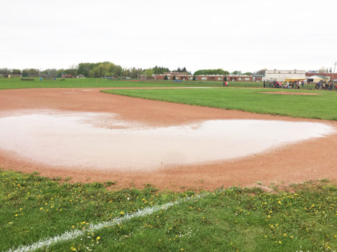 OBSERVER Photo by Jeremy Izzio Pictured is the Fredonia Hillbillies' baseball field under water along Route 60. Multiple weeks filled with rainouts has backed up the season to unprecedented levels with the Sectional playoff seeding meeting looming on the horizon.