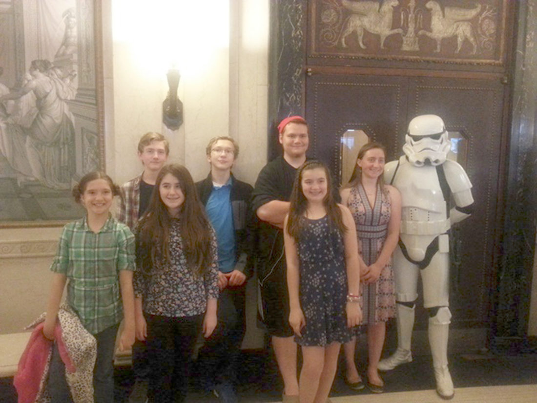 """Submitted Photo On Saturday, April 29, members of the Chautauqua Regional Youth Symphony (CRYS) traveled to hear the Rochester Philharmonic Orchestra perform """"Star Wars and More: The Best of John Williams."""" Costumed characters like the Stormtrooper pictured greeted the audience in Kodak Hall at the Eastman Theatre. The three CRYS orchestras will present their Spring Gala Concert in Chautauqua Institution's Elizabeth S. Lenna Hall at 4 p.m. Sunday, May 7."""