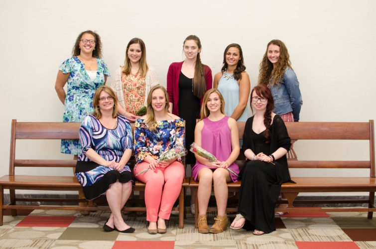 Submitted Photo Pictured are some of the recipients of the AAUW scholarship awards. Front row from left: Melodie Perrin, Leah Ratterman, Emily Olds and Hannah Lorenc. Back row: Jennifer Maisonet, Kari Macomb-Gustafson, Rachel Pfeiffer, Kathyrn Andalora and Aliah Sample.