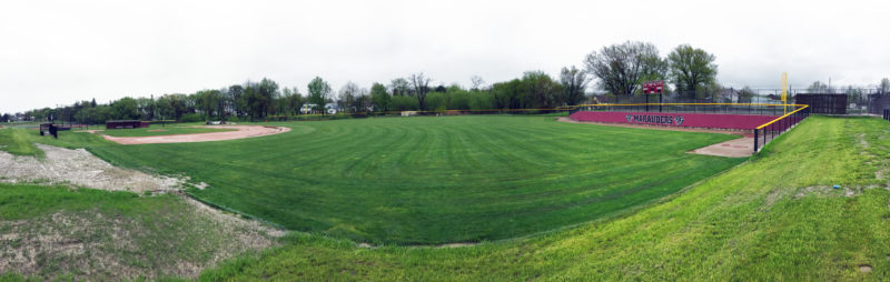 OBSERVER Photo by Jeremy Izzio Above is a panoramic view of the newly renovated Al Stuhlmiller Field at Dunkirk High School. The baseball field underwent many facelifts and received upgrades from foul pole to foul pole. Below is a look at the new right field fence where the decades-old hill was removed and an observation area was installed behind the fence, on top of the hill.
