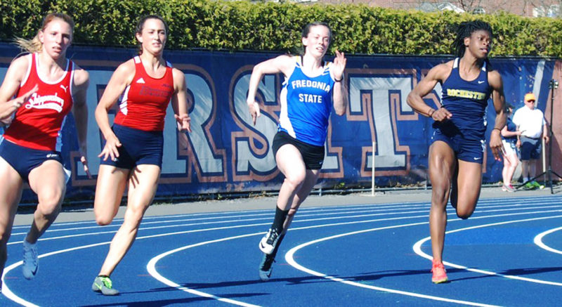 Submitted Photo Jamestown native Brittany Feldman, left, won two events Saturday at the SUNYAC Outdoor championship meet.