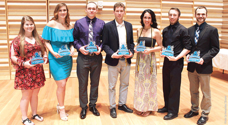 Submitted Photo Gala award winners, from left, Cassie Herman, Meghan Bartlett, Ty Bentham, Bryan Sibble, Maria Gordon, Arron Carlson, and Adam Clouthier.